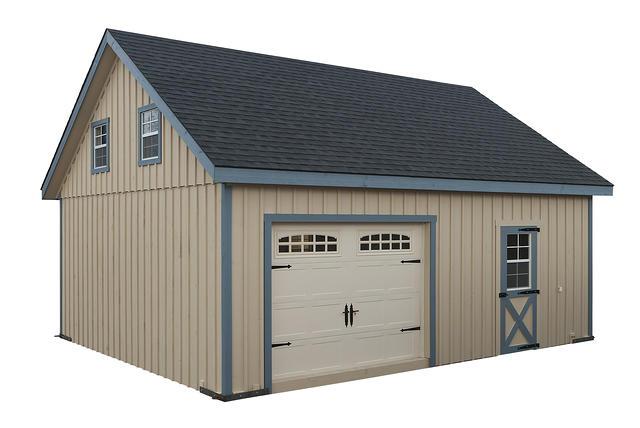 Modular garage full loft 4 for Prefab 2 car garage with loft